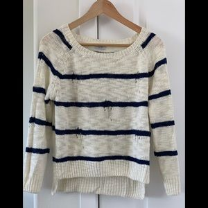 Sweaters - Small navy and white stripe pullover sweater